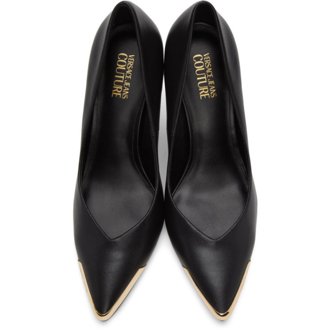 Versace Jeans Couture Black and Gold Tip Pumps