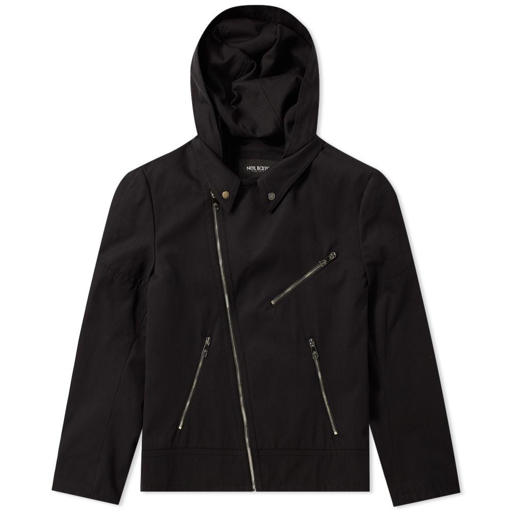 Photo: Neil Barrett Zip Hooded Biker Jacket Black