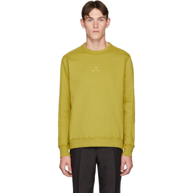 Photo: PS by Paul Smith Yellow Garment-Dye Logo Regular-Fit Sweatshirt