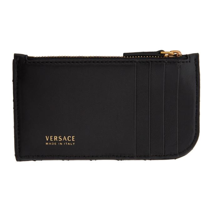 Versace Black Tribute Zip Card Holder