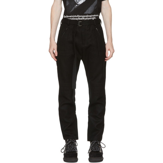 Photo: Sacai Black Wool Belted Trousers