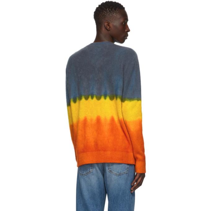 The Elder Statesman Multicolor Gradient Simple Crewneck Sweater