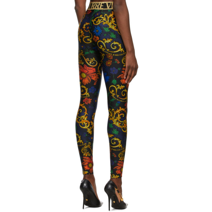 Versace Jeans Couture Black Baroque Flower Leggings