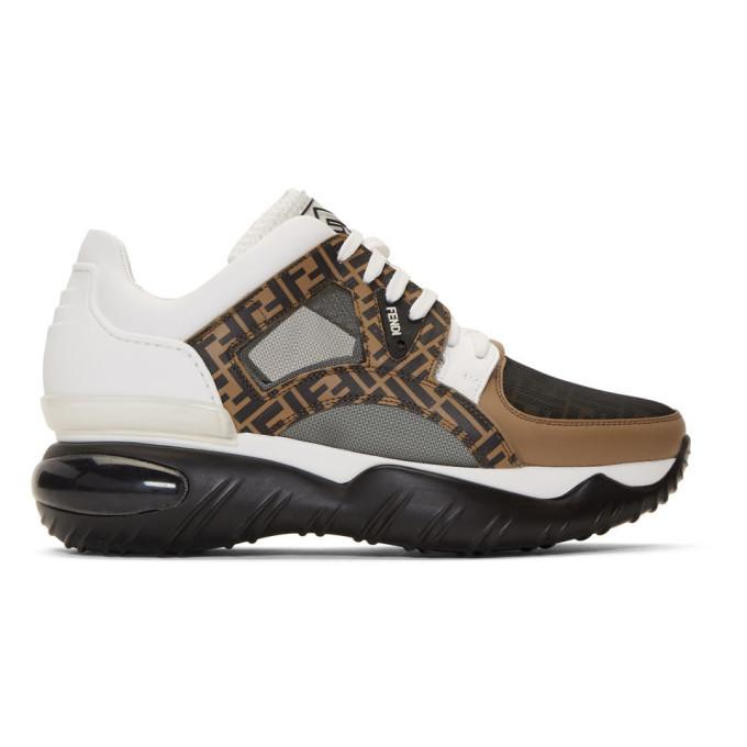 Photo: Fendi White and Brown Forever Fendi Chunky Sneakers