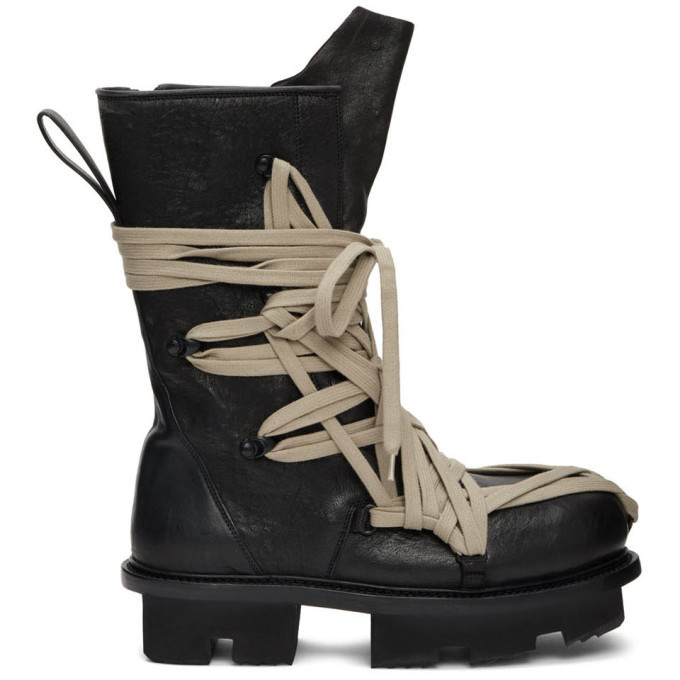 Photo: Rick Owens Black Lace Up Army Megatooth Boots