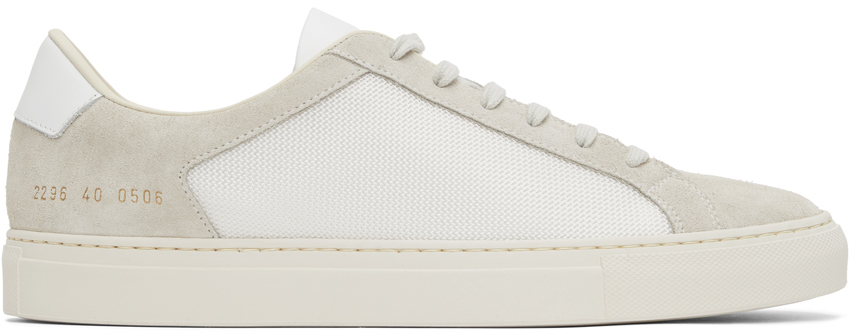 Photo: Common Projects White & Taupe Retro Summer Edition Low Sneakers