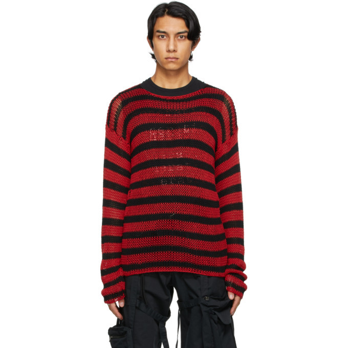 Raf Simons Black and Red Striped Open Knit Sweater
