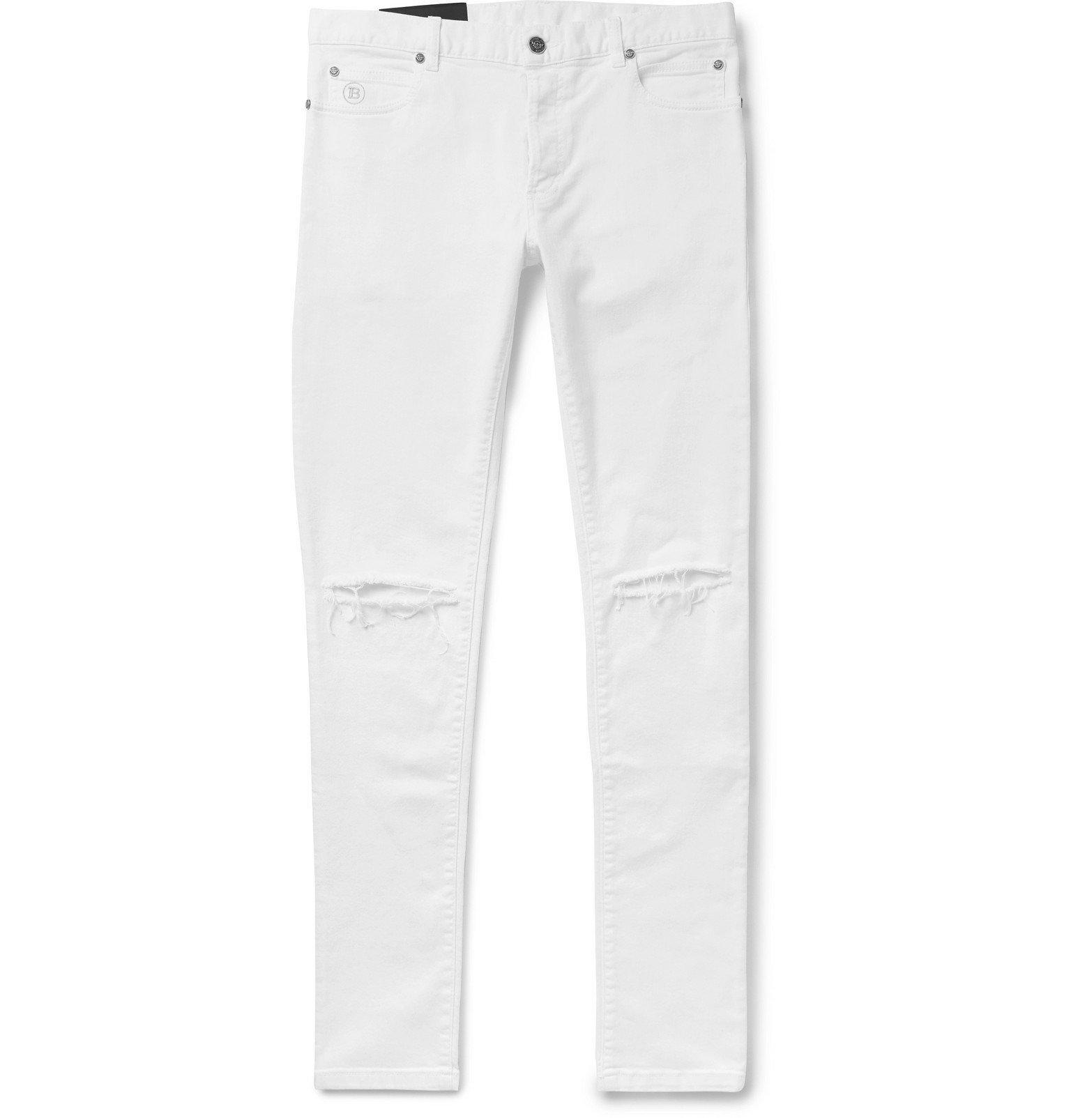 Photo: Balmain - Skinny-Fit Distressed Stretch-Denim Jeans - White
