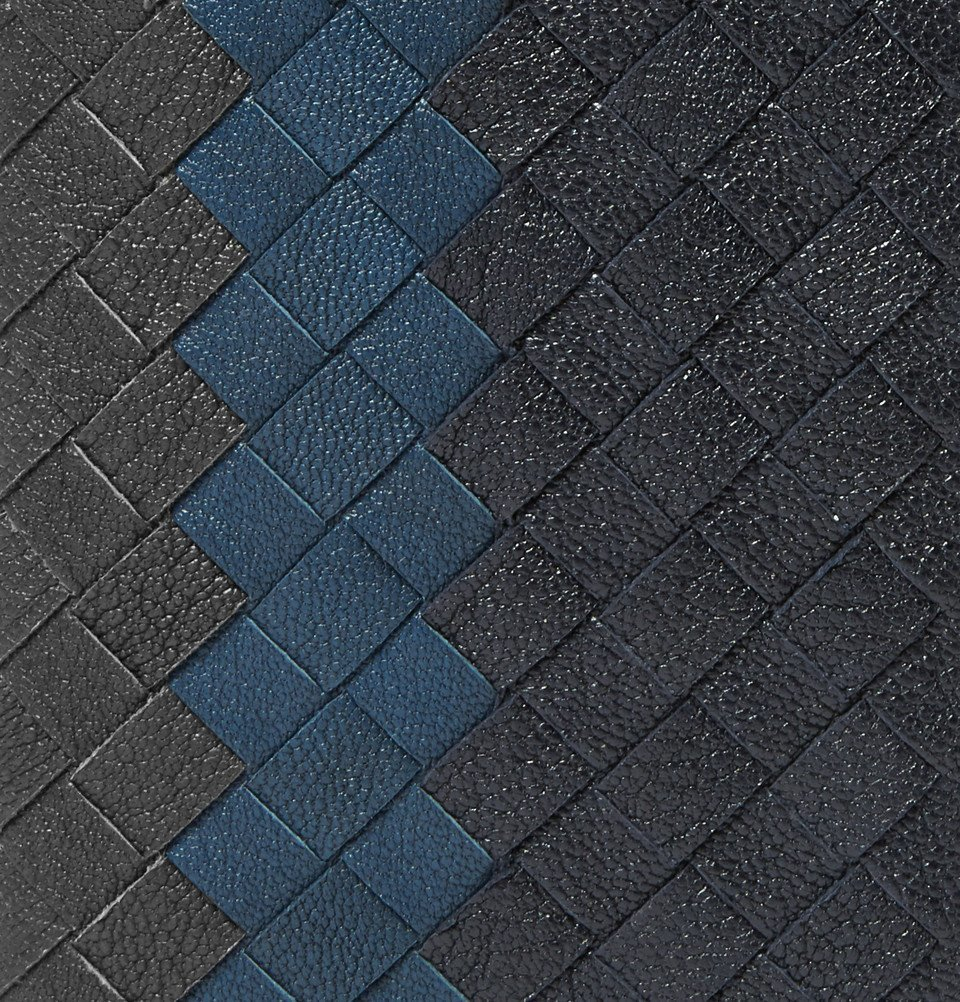 Bottega Veneta - Intrecciato Pebble-Grain Leather Bifold Cardholder - Men - Blue