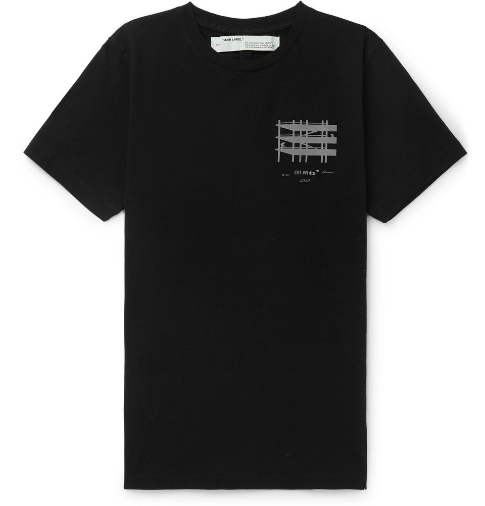 Photo: Off-White - Slim-Fit Reflective-Trimmed Cotton-Jersey T-Shirt - Black