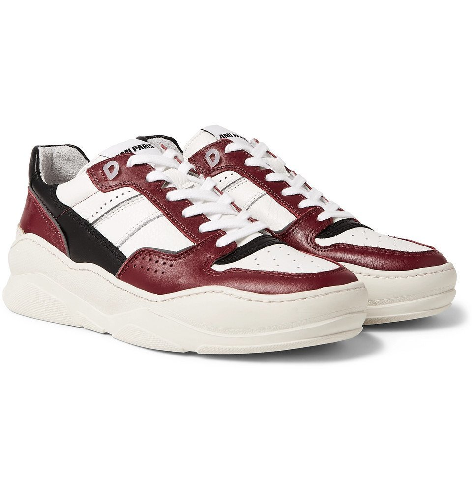 Photo: AMI - Panelled Leather Sneakers - Red
