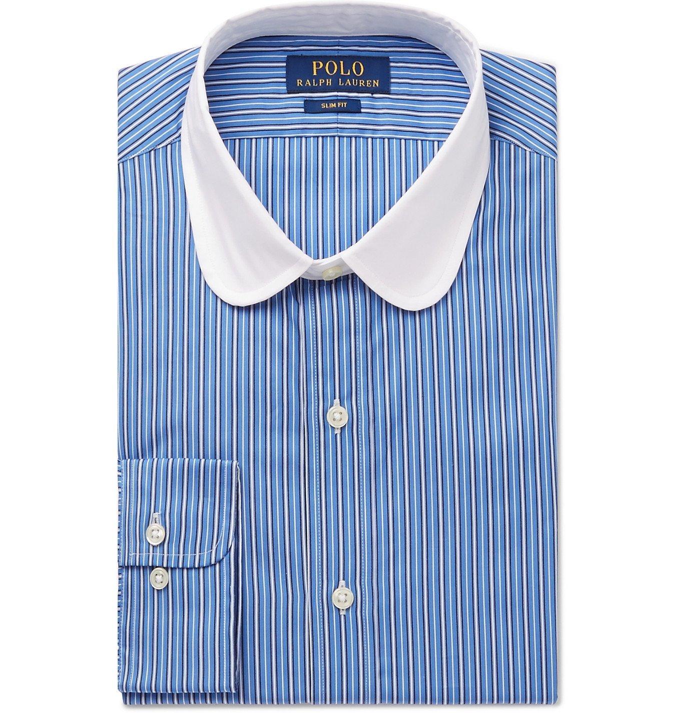 Photo: Polo Ralph Lauren - Slim-Fit Penny-Collar Striped Cotton Shirt - Blue