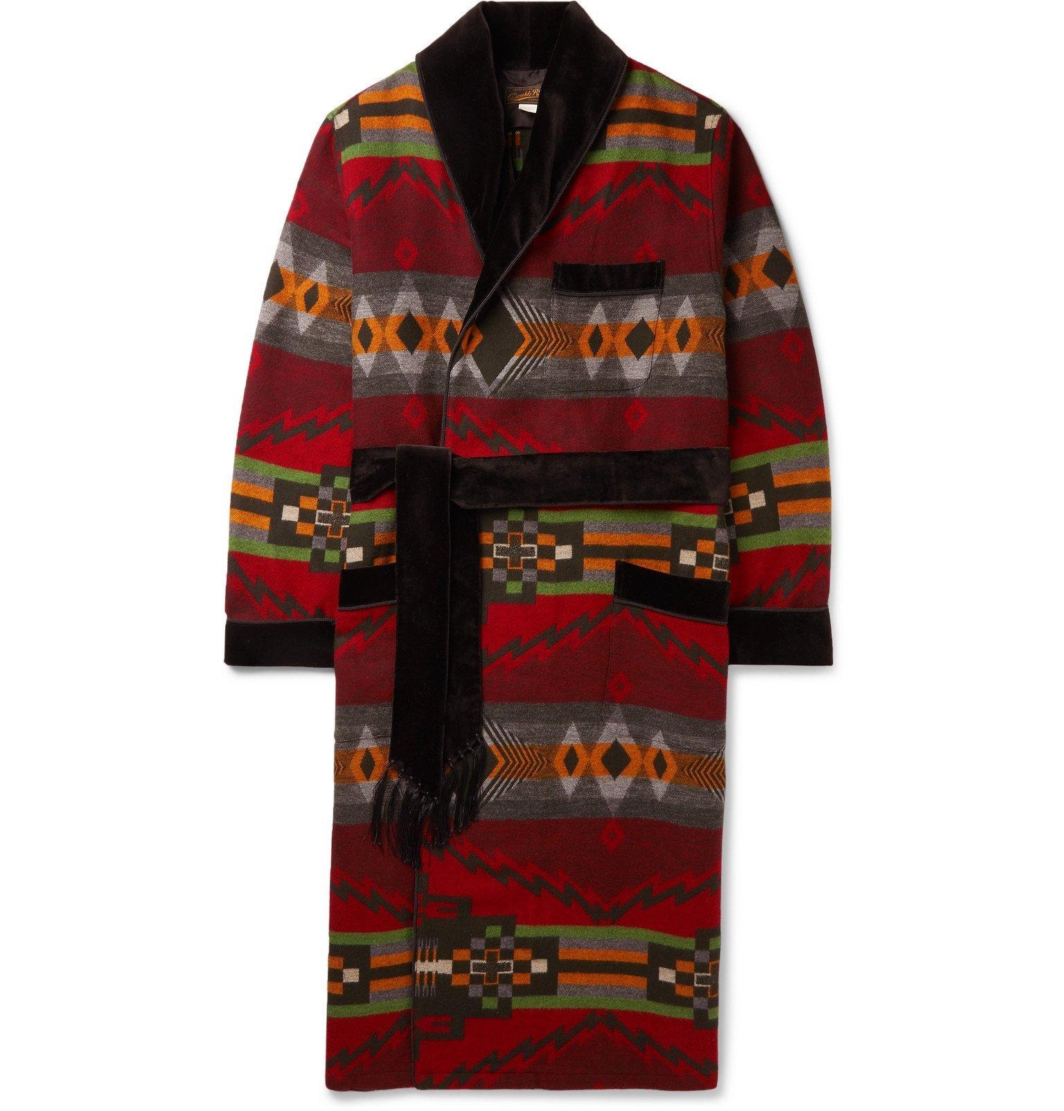 RRL - Velvet-Trimmed Cotton and Wool-Blend Jacquard Robe - Red