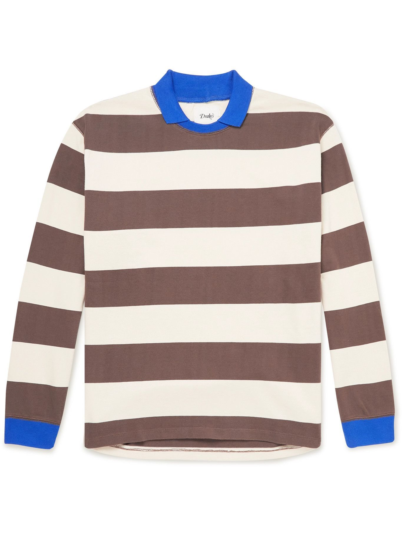 Photo: DRAKE'S - Striped Cotton-Jersey Rugby Shirt - Multi