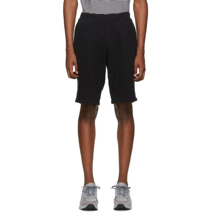 Sunspel Black Cotton Loopback Shorts