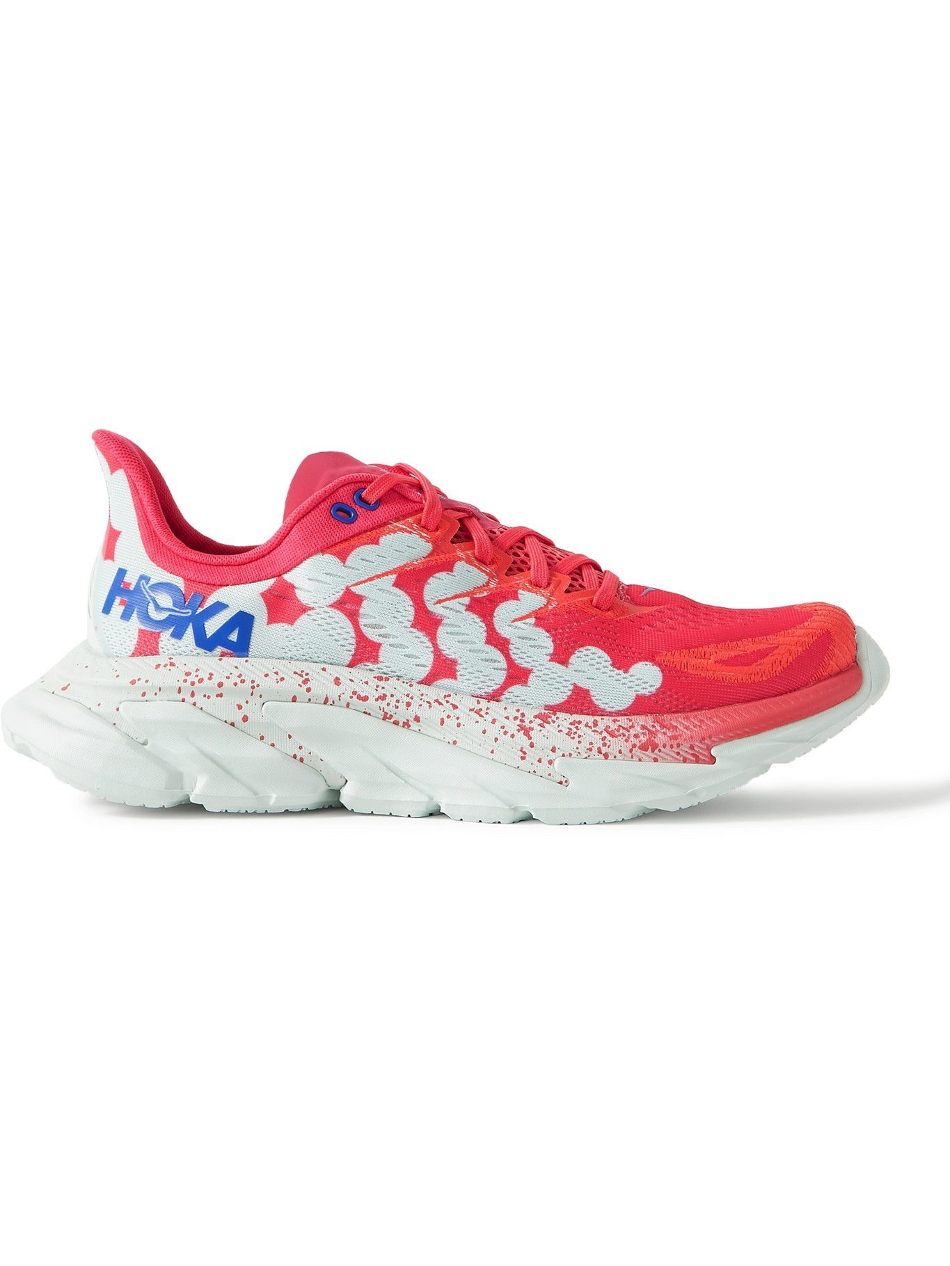Photo: Hoka One One - Clifton Edge Rubber-Trimmed Mesh Running Sneakers - Pink