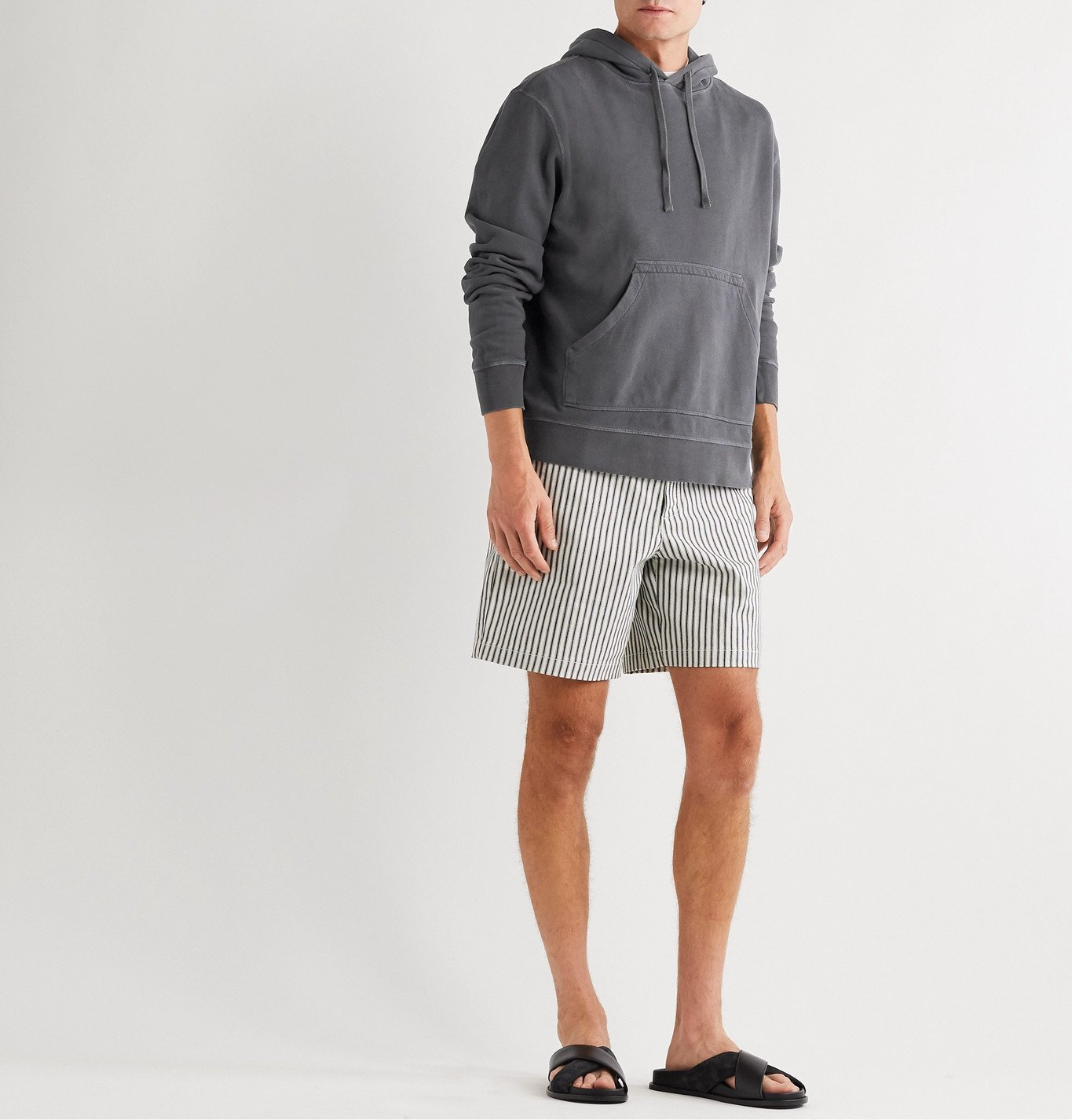 Officine Generale - Olivier Garment-Dyed Loopback Cotton-Jersey Hoodie - Gray