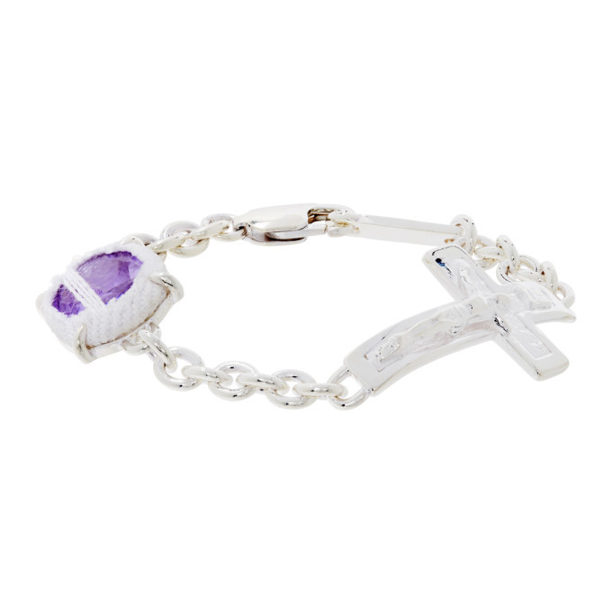 Photo: SWEETLIMEJUICE Silver and Purple Denim Oval Crucifix Heavy Bracelet