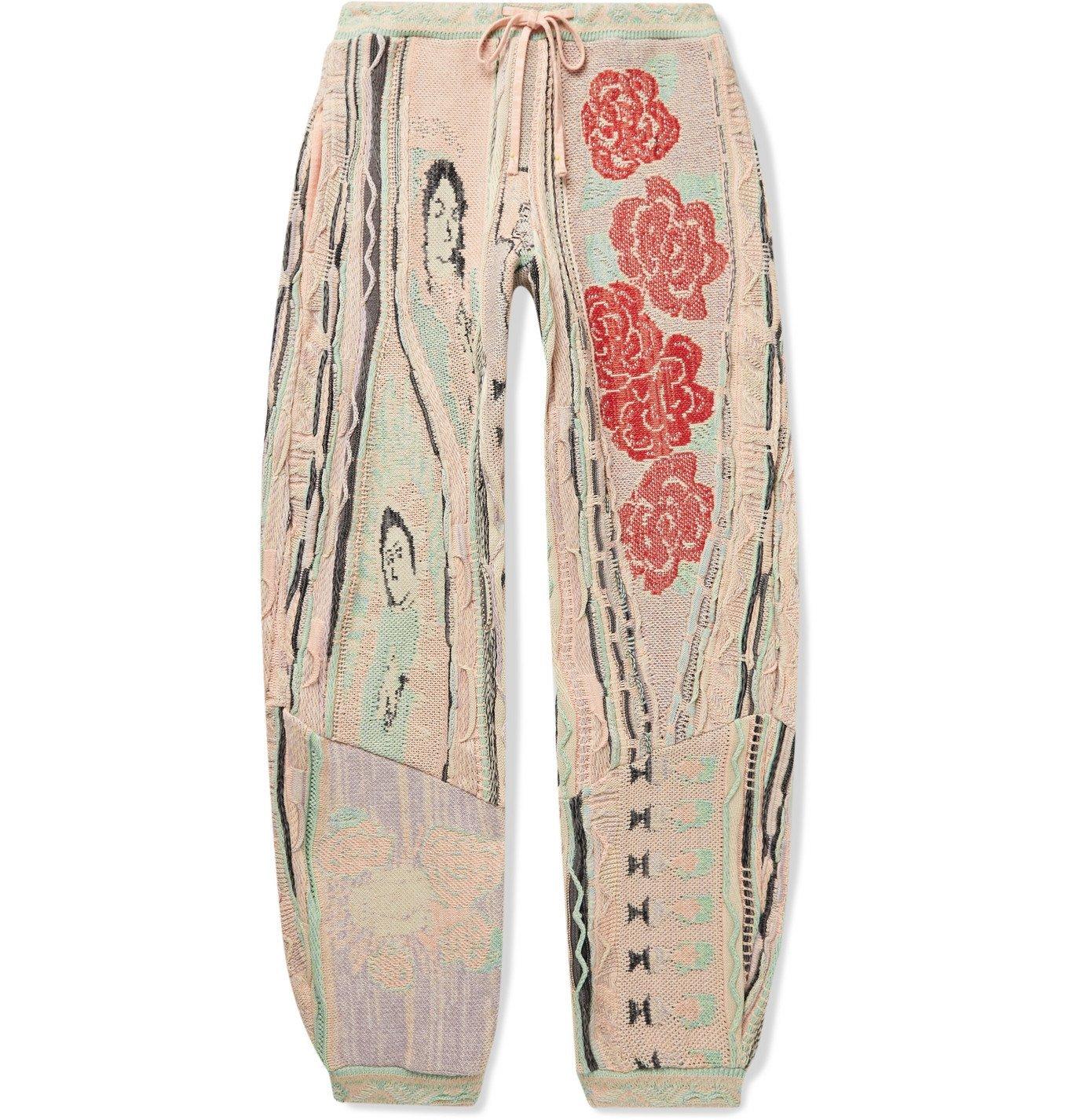 KAPITAL - Tapered Cotton-Jacquard Sweatpants - Pink