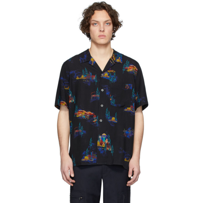 Photo: PS by Paul Smith Black Lyocell Cosmic Camp Shirt