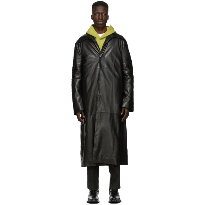 Photo: Acne Studios Black Leather Insulated Coat