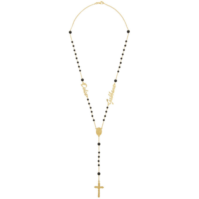 Photo: Dolce and Gabbana Black Logo Rosary Necklace