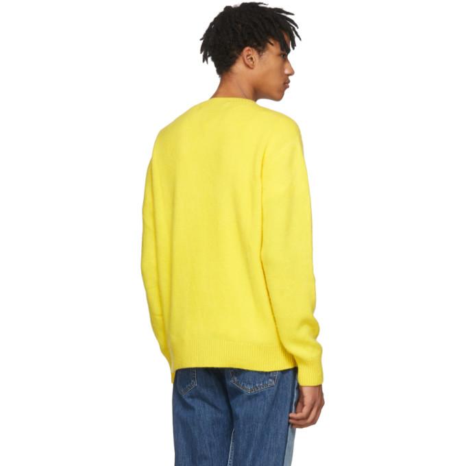 The Elder Statesman Yellow Cashmere Simple Crew Sweater