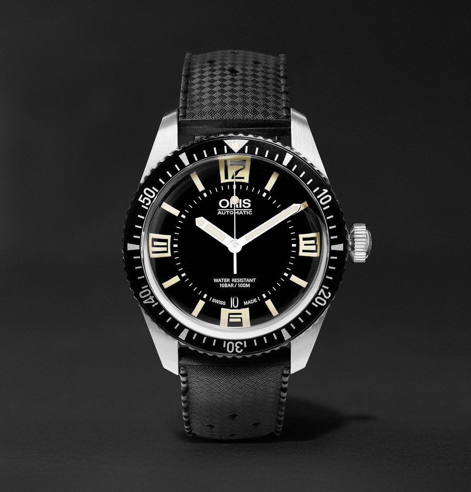 Photo: Oris - Divers Sixty-Five 40mm Stainless Steel and Rubber Watch - Men - Black