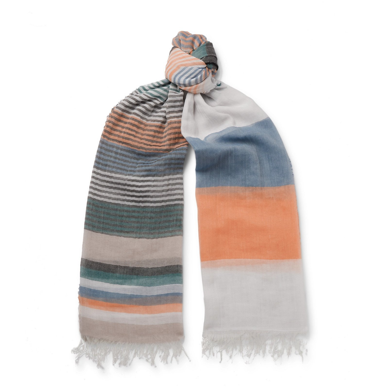Photo: Oliver Spencer - Grafton Striped Fringed Cotton-Voile Scarf - Multi