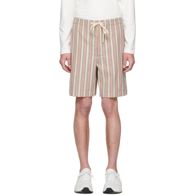 Photo: Jil Sanderand Beige Stripe Wool Shorts