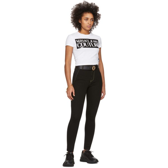 Versace Jeans Couture Black Mesh Bodycon Trousers