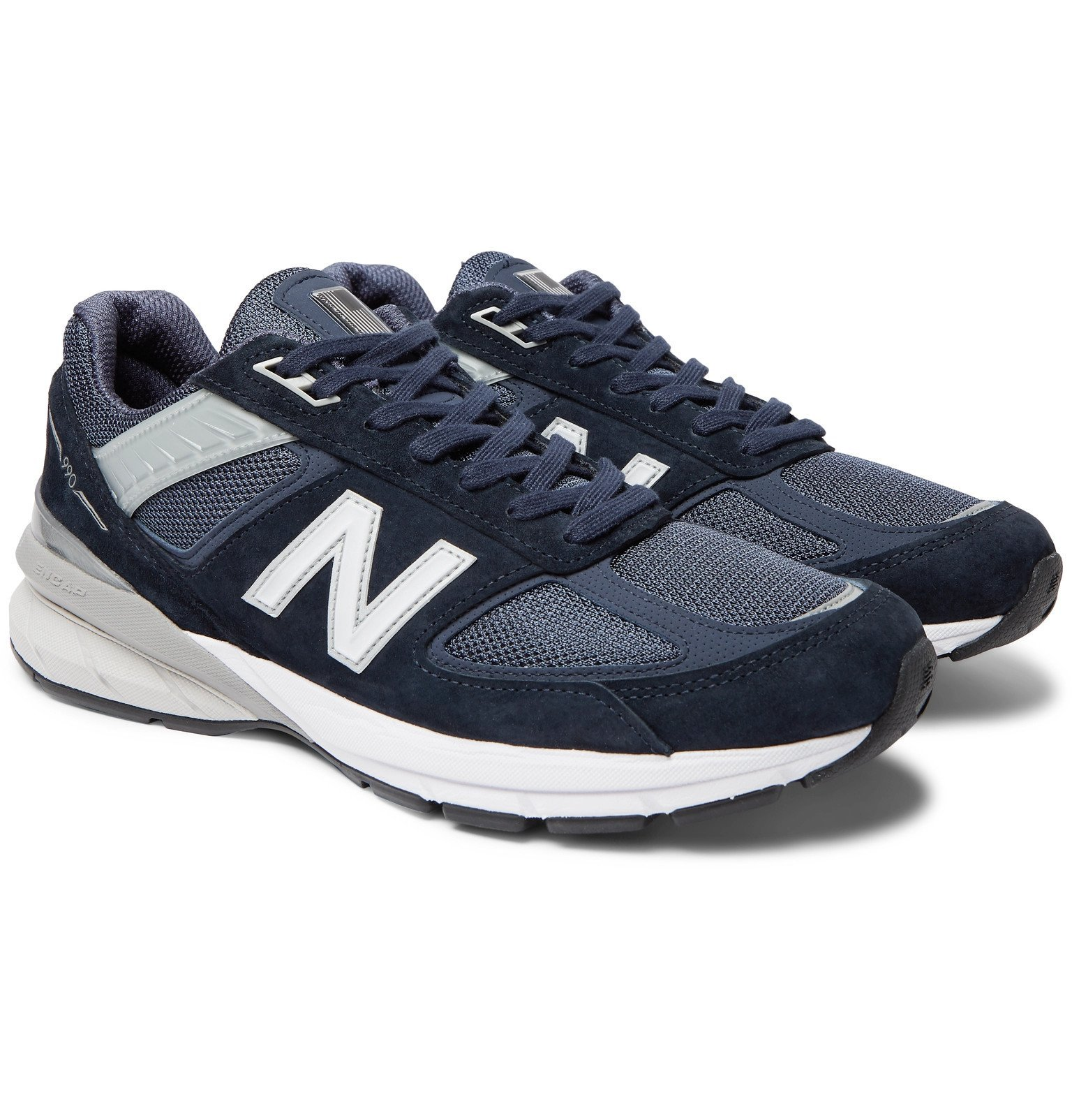 Photo: Junya Watanabe - New Balance 990 V5 Suede and Mesh Sneakers - Blue
