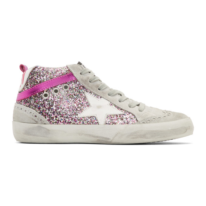 Golden Goose Grey and Pink Glitter Mid
