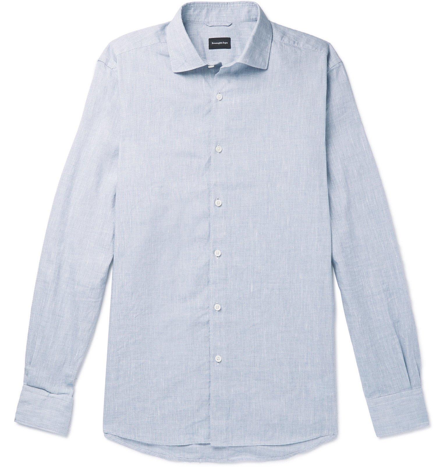 Photo: Ermenegildo Zegna - Slub Linen and Cotton-Blend Shirt - Blue
