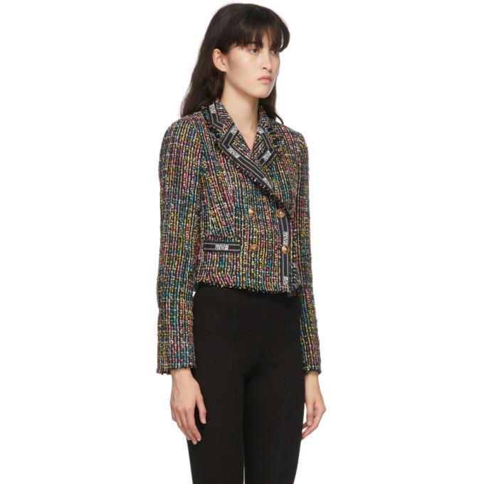 Versace Jeans Couture Black Tweed Cropped Jacket