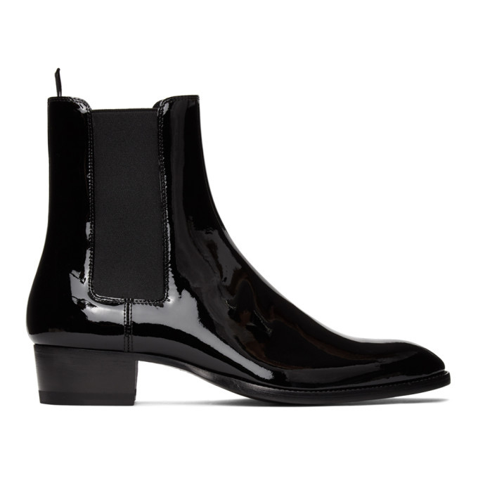 Photo: Saint Laurent Black Patent Wyatt Chelsea Boots