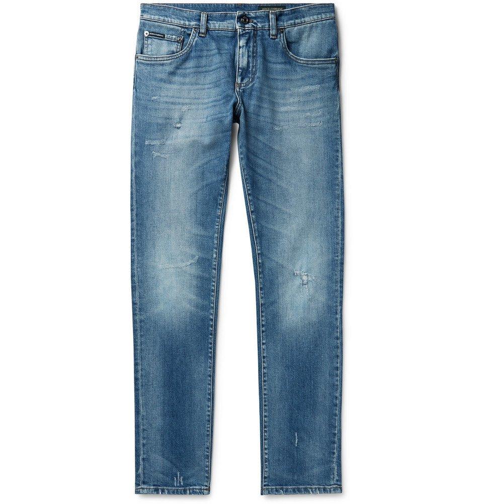 Photo: Dolce & Gabbana - Skinny-Fit Distressed Denim Jeans - Mid denim