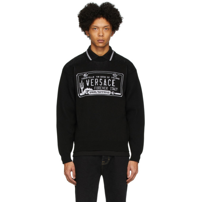 Photo: Versace Black License Plate Sweatshirt