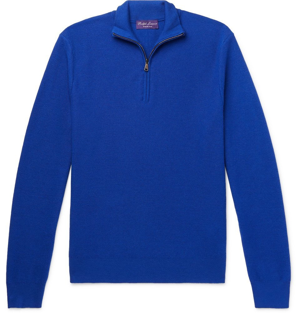 Photo: Ralph Lauren Purple Label - Slim-Fit Wool and Cashmere-Blend Piqué Half-Zip Sweater - Men - Blue