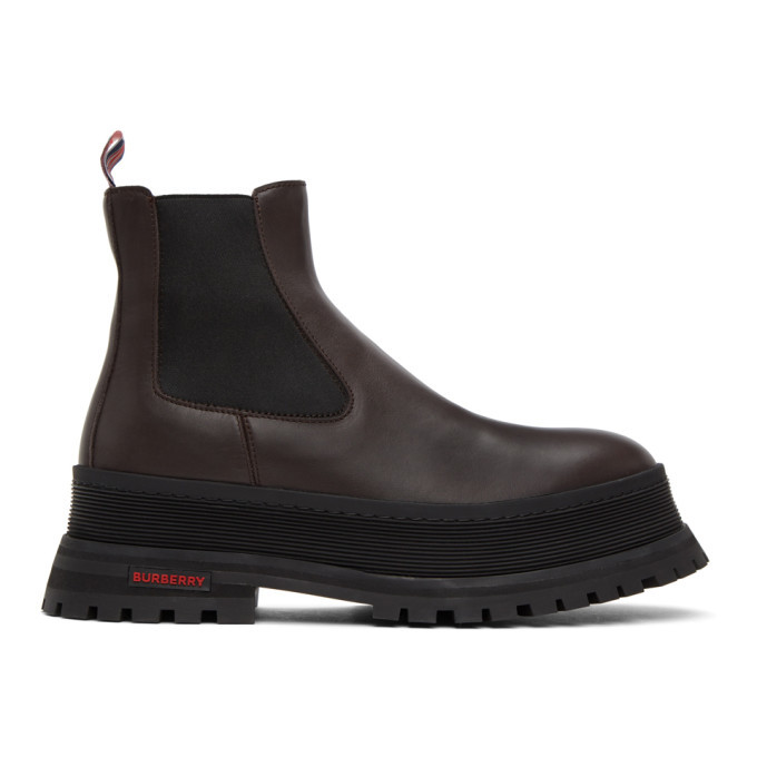 Photo: Burberry Brown Jeffrey Chunky Chelsea Boots