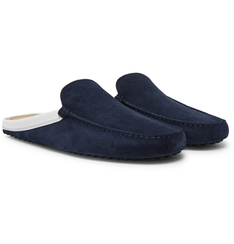 Tod's - Leather-Trimmed Suede Backless Loafers - Men - Navy