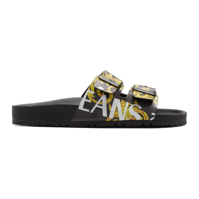 Photo: Versace Jeans Couture Black and Yellow Barocco Straps Sandals