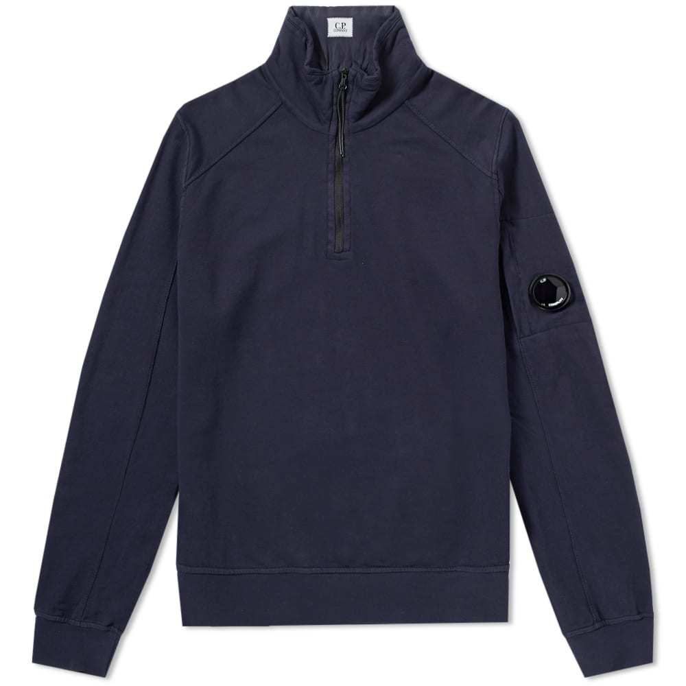 C.P. Company Garment Dyed Light Fleece Half Zip Sweat Blue