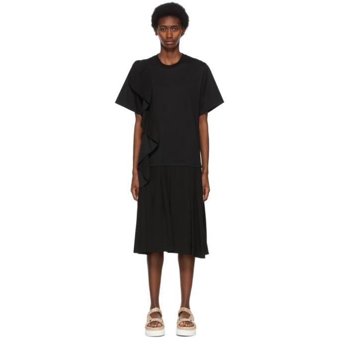 3.1 Phillip Lim Black Ruffle Combo T-Shirt Dress