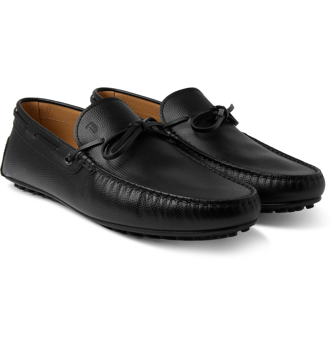 Photo: TOD'S - City Full-Grain Leather Driving Shoes - Black