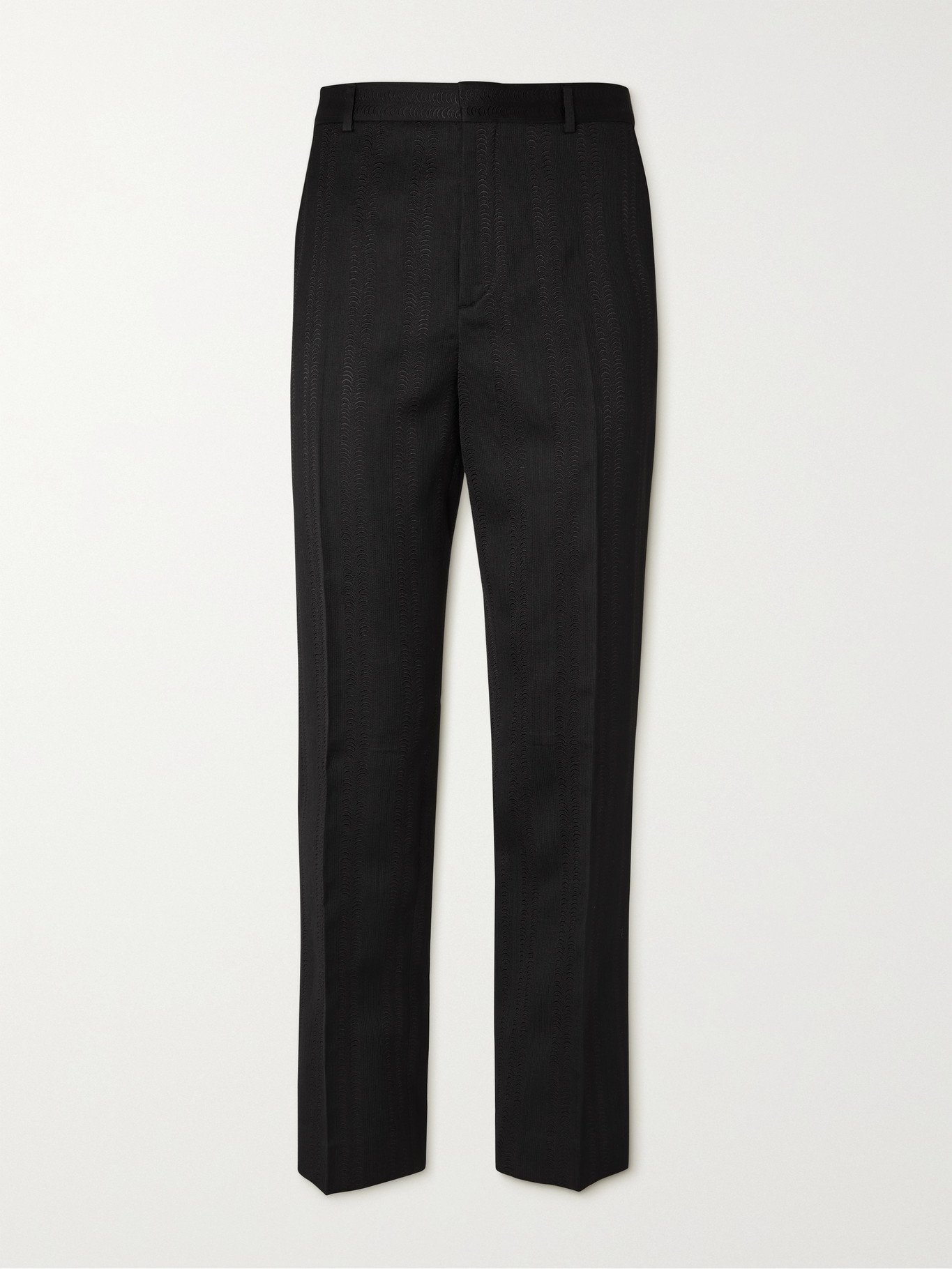 Photo: SAINT LAURENT - Wool, Silk and Cotton-Blend Jacquard Trousers - Black