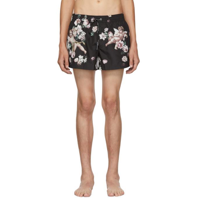 Photo: Dolce and Gabbana Black Floral Swim Shorts