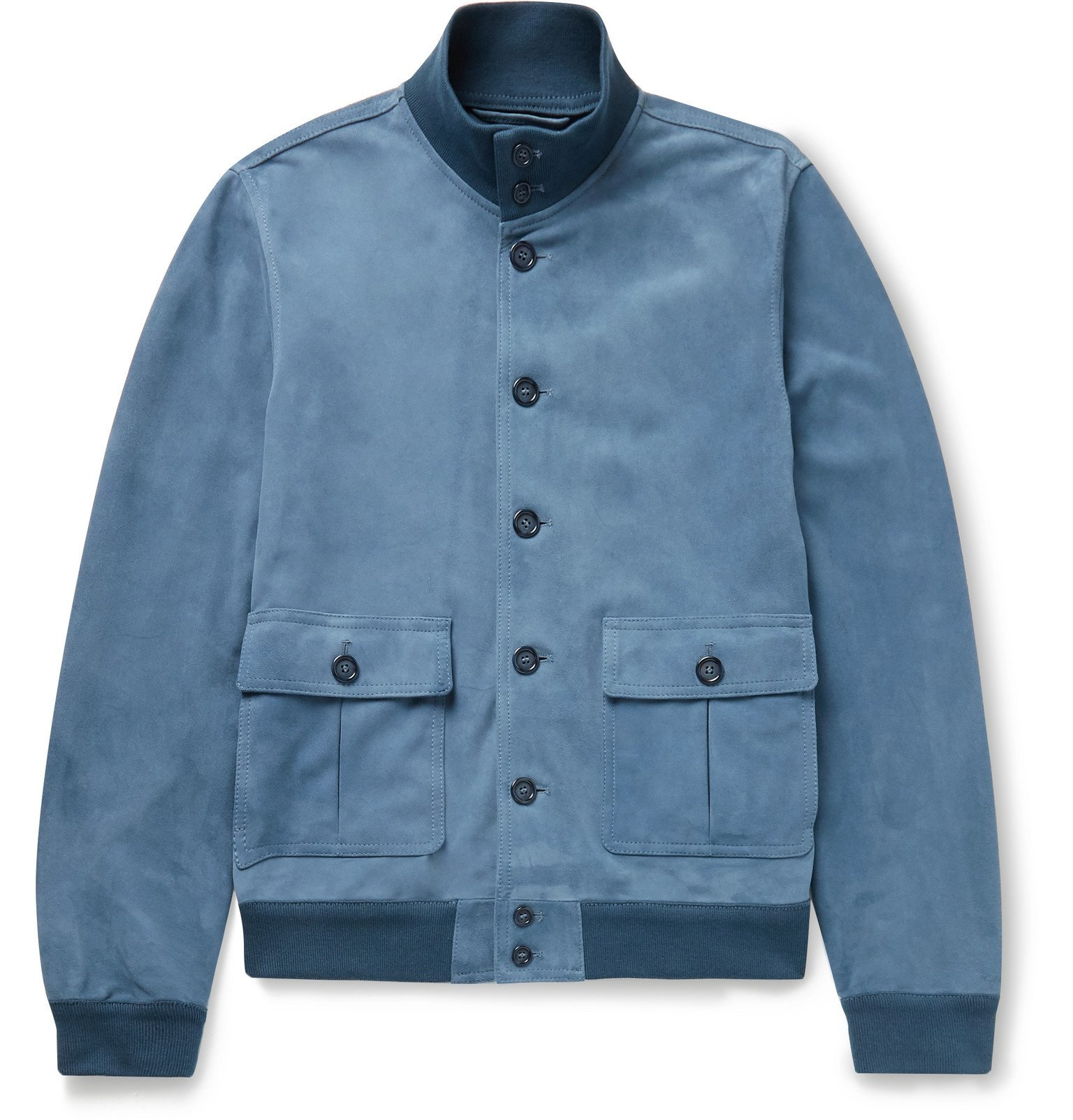 Photo: Valstar - Valstarino Slim-Fit Suede Bomber Jacket - Blue