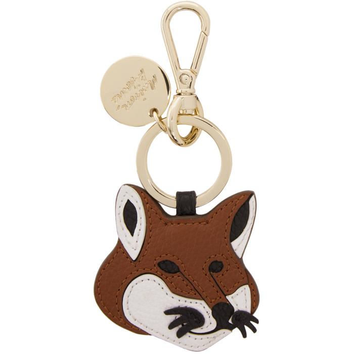 Photo: Maison Kitsuné Brown Leather Fox Head Keychain