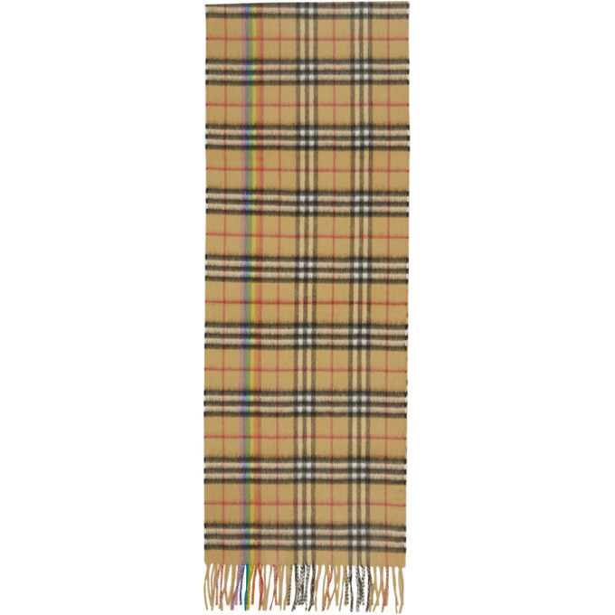 Photo: Burberry Yellow Cashmere Rainbow Check Scarf